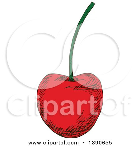 Clipart of a Sketched Cherry - Royalty Free Vector Illustration by Vector Tradition SM