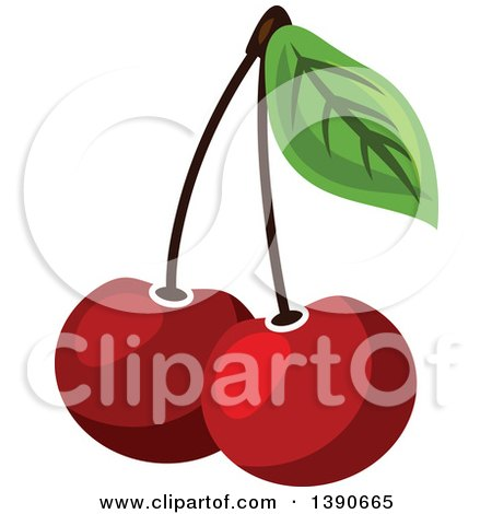 Clipart of Cherries - Royalty Free Vector Illustration by Vector Tradition SM