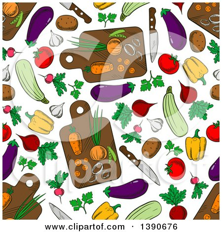 Clipart of a Seamless Background Pattern of Vegetables and Cutting Boards - Royalty Free Vector Illustration by Vector Tradition SM
