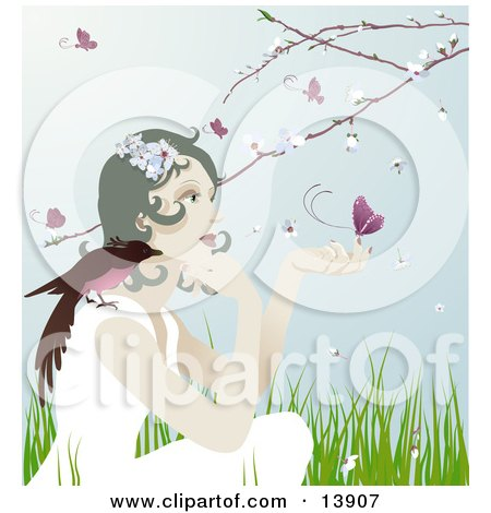 Pretty Gentle Woman With a Bird on her Shoulder and a Butterfly on Her Hand, Sitting Outdoors in Spring Time Clipart Illustration by AtStockIllustration