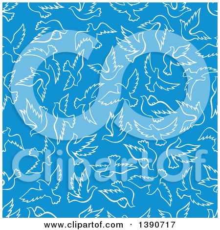 Clipart of a Seamless Background Pattern of White Doves on Blue - Royalty Free Vector Illustration by Vector Tradition SM