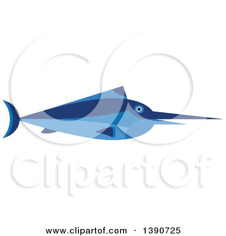 Clipart of a Blue Marlin Fish - Royalty Free Vector Illustration by Vector Tradition SM