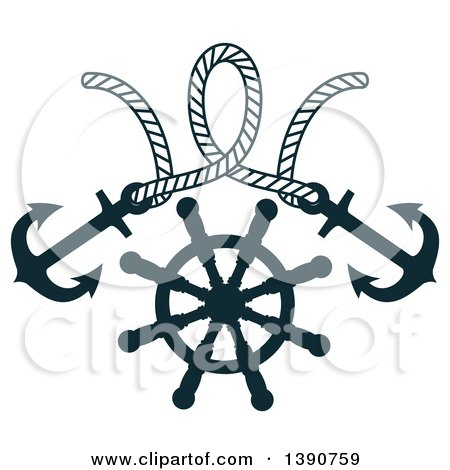 Clipart of a Rope with Anchors over a Helm - Royalty Free Vector Illustration by Vector Tradition SM