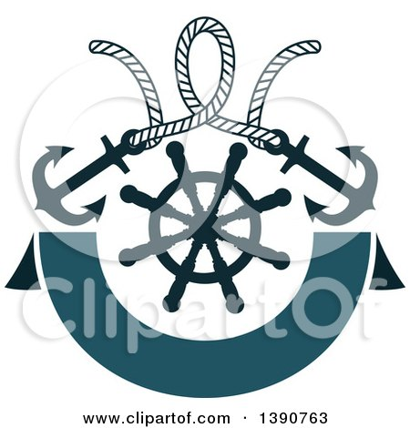 Clipart of a Rope with Anchors over a Helm and Banner - Royalty Free Vector Illustration by Vector Tradition SM