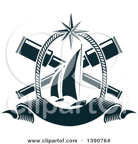 Clipart of a Nautical Design with Crossed Telescopes, Rope, a Banner and Sailboats - Royalty Free Vector Illustration by Vector Tradition SM