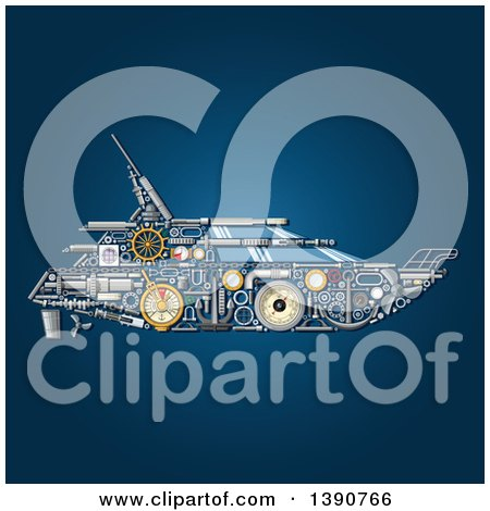Clipart of a Yacht Made of Mechanical Parts on Blue - Royalty Free Vector Illustration by Vector Tradition SM