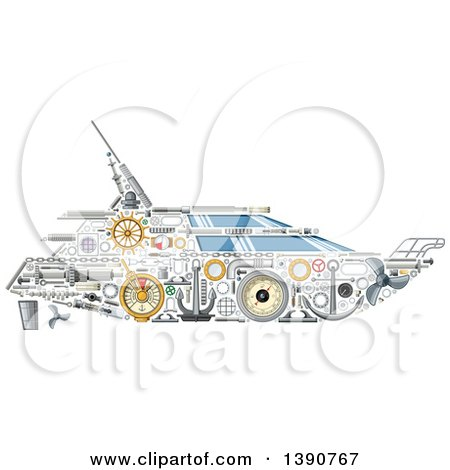 Clipart of a Yacht Made of Mechanical Parts - Royalty Free Vector Illustration by Vector Tradition SM