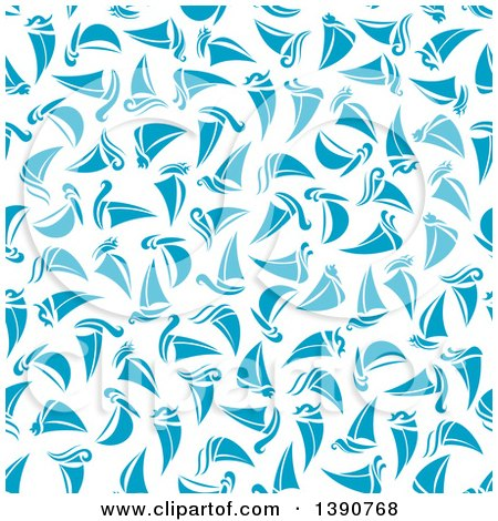 Clipart of a Seamless Background Pattern of Blue Sailboats - Royalty Free Vector Illustration by Vector Tradition SM