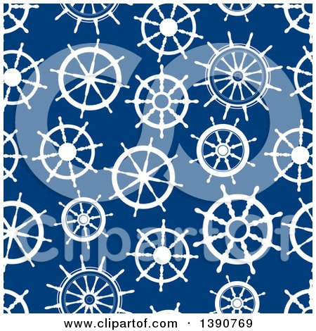 Clipart of a Seamless Background Pattern of White Helms on Blue - Royalty Free Vector Illustration by Vector Tradition SM