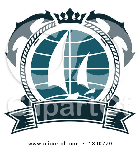 Clipart of a Nautical Design with Crossed Anchors, a Crown, Rope, a Banner and Sailboats - Royalty Free Vector Illustration by Vector Tradition SM