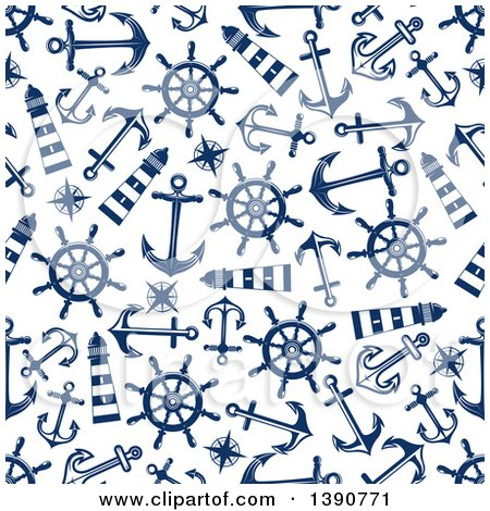 Clipart of a Seamless Background Pattern of Anchors, Lighthouses, Compasses and Helms - Royalty Free Vector Illustration by Vector Tradition SM