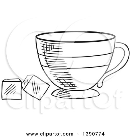 Black and White Sketched Tea Cup with Sugar Cubes Posters, Art Prints