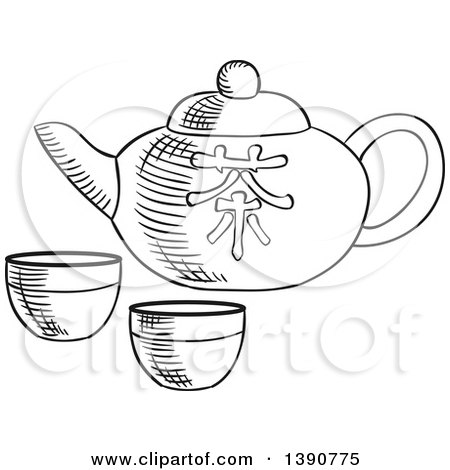 Black and White Sketched Asian Tea Pot and Cups Posters, Art Prints