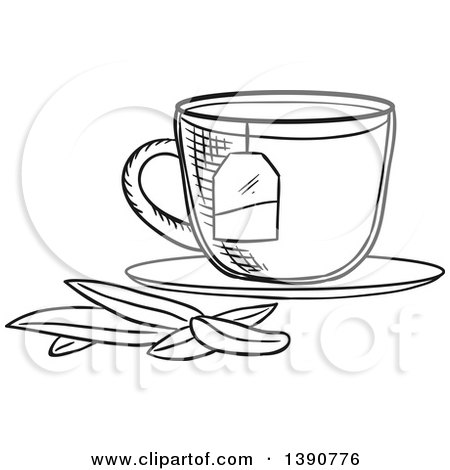 Black and White Sketched Tea Cup with Leaves Posters, Art Prints