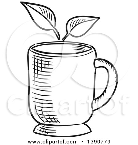 Black and White Sketched Tea Cup and Leaves Posters, Art Prints