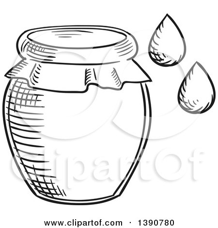 Black and White Sketched Honey Jar and Drops Posters, Art Prints