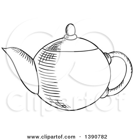 Black and White Sketched Tea Pot Posters, Art Prints