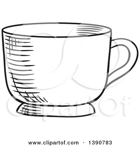 Black and White Sketched Tea Cup Posters, Art Prints