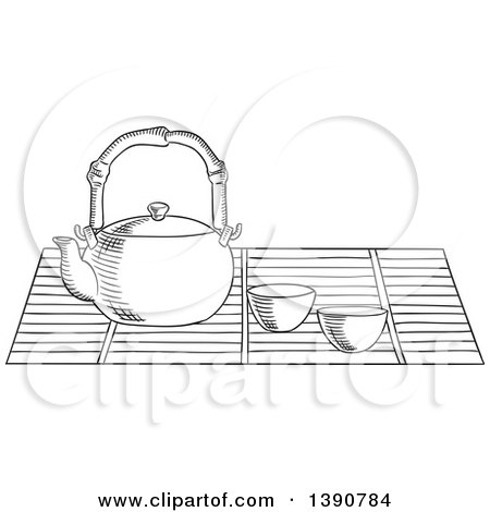 Black and White Sketched Tea Pot and Cups Posters, Art Prints