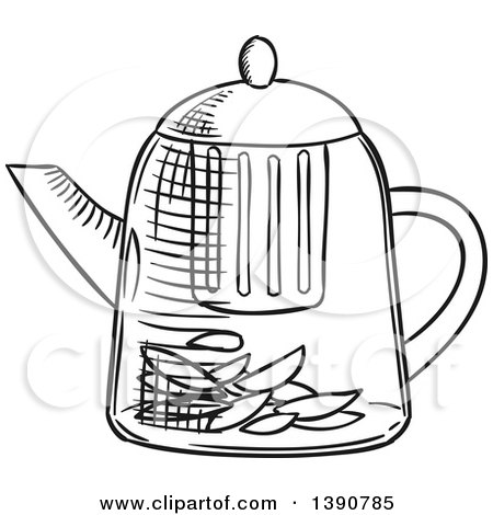 Clipart of a Black and White Sketched Tea Kettle - Royalty Free Vector Illustration by Vector Tradition SM