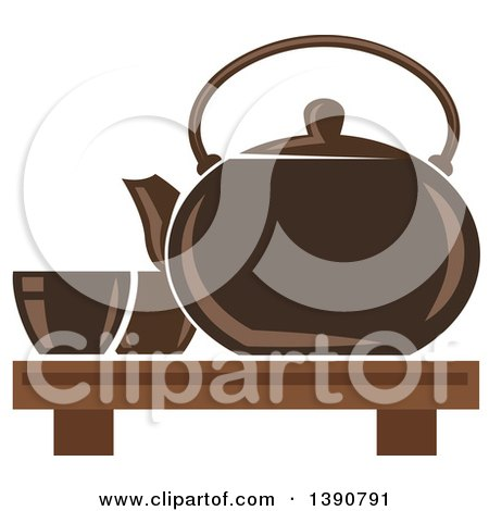 Clipart of a Brown Asian Tea Pot with Cups - Royalty Free Vector Illustration by Vector Tradition SM