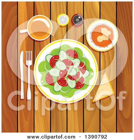 Clipart of a Vegetarian Lunch on a Wooden Table with Fresh Vegetable Salad with Tomatoes, Cucumbers and Onion, Grated Carrot with Whipped Cream and Honey, Piece of Bread with Cup of Tea, Salt and Pepper Shakers - Royalty Free Vector Illustration by Vector Tradition SM
