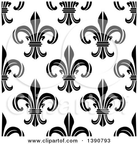 Clipart of a Seamless Background Pattern of Black and White Fleur De Lis - Royalty Free Vector Illustration by Vector Tradition SM