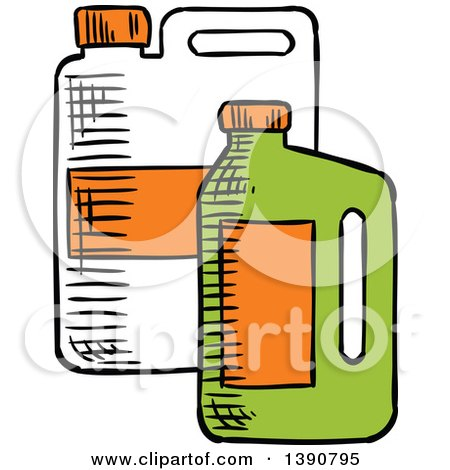 Clipart of Sketched Containers of Bio Fuel - Royalty Free Vector Illustration by Vector Tradition SM