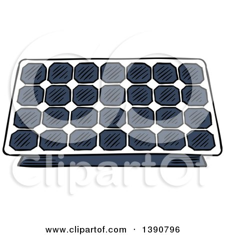 Clipart of a Sketched Solar Panel - Royalty Free Vector Illustration by Vector Tradition SM