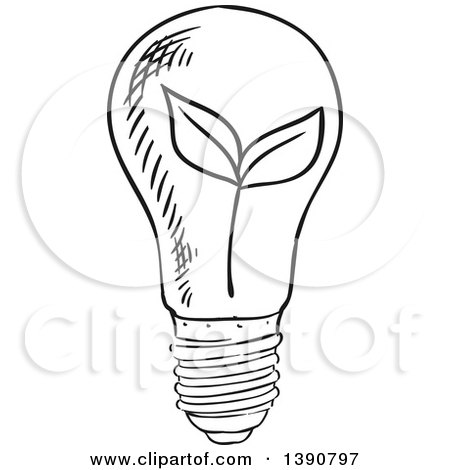 Clipart of a Sketched Dark Gray Plant in a Light Bulb - Royalty Free Vector Illustration by Vector Tradition SM
