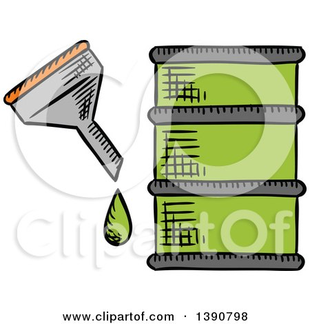 Clipart of a Sketched Barrel of Bio Fuel - Royalty Free Vector Illustration by Vector Tradition SM