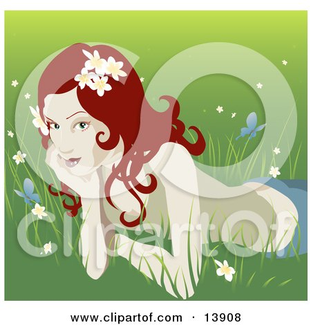 Pretty Organic Red Haired Woman Lying In The Grass Clipart Illustration