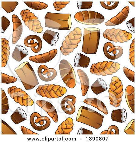 Clipart of a Seamless Background Pattern of Baked Goods - Royalty Free Vector Illustration by Vector Tradition SM