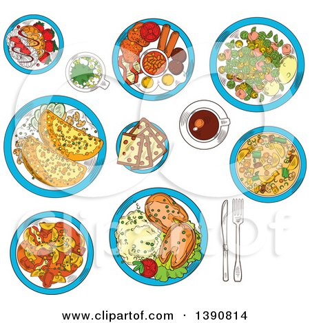 Clipart of Sketched Irish Cuisine Dishes Served with Vegetable Lamb Stew and Potato Pancakes Boxty with Sauce, Potato Stew Coddle with Sausages and Mashed Potato with Fish, Raisin Bread and Meringue Dessert with Strawberries, Green Beer and Coffee Cup by Vector Tradition SM