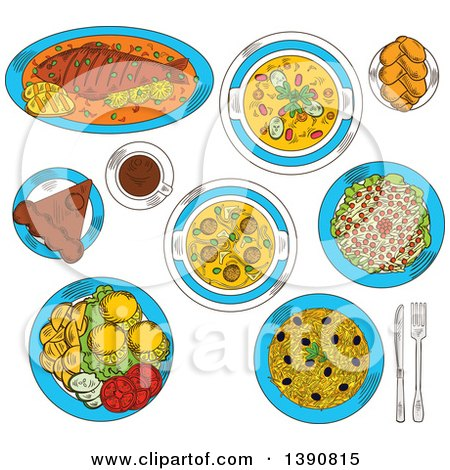 Clipart of Sketched Romanian Cuisine with Whole Fish and Grilled Corn Mamaliga, Meatball and Vegetarian Bean Soup, Fried Potatoes with Fresh Vegetables and Lemon, Pickled Cabbage Salad and Sweet Bread with Cheese, Chocolate Cake Amandine and Coffee - Ro by Vector Tradition SM