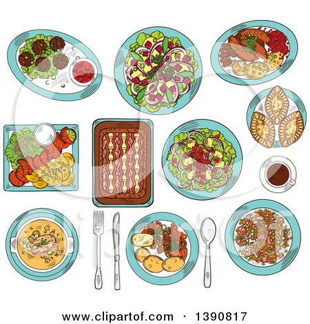 Clipart of Sketched Finnish Cuisine Dishes of Smoked Salmon, Rice and Fish Rye Pies, Sausages and Meatballs with Berry Jam, Cabbage and Reindeer Stews, Salads with Apples, Cheese and Cloudberries, Soup and Coffee - Royalty Free Vector Illustration by Vector Tradition SM