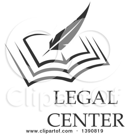 Clipart of a Feather Quill Writing in a Book with Legal Center Text - Royalty Free Vector Illustration by Vector Tradition SM