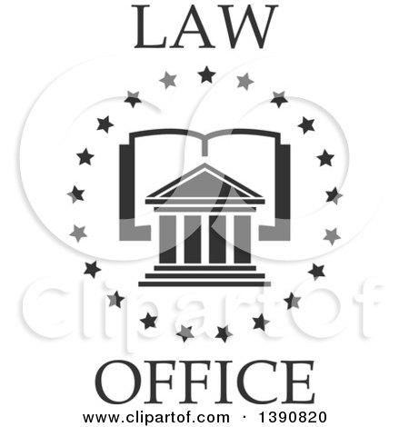 Clipart of a Court House over an Open Book in a Circle of Stars with Law Office Text - Royalty Free Vector Illustration by Vector Tradition SM