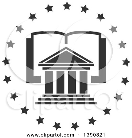Clipart of a Court House over an Open Book in a Circle of Stars - Royalty Free Vector Illustration by Vector Tradition SM