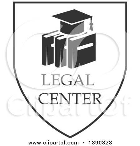 Clipart of a Dark Gray Graduation Cap over Books in a Shield - Royalty Free Vector Illustration by Vector Tradition SM