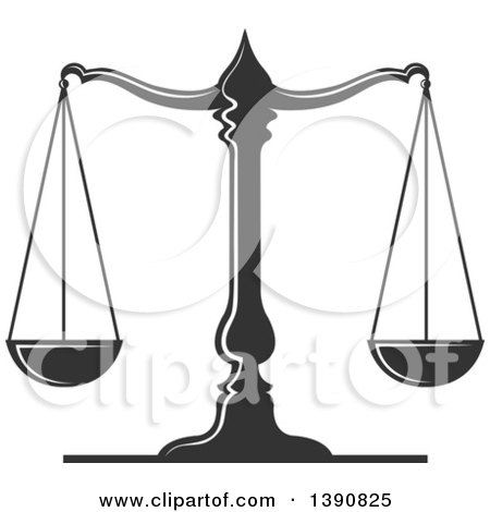 Clipart of Dark Gray Scales of Justice - Royalty Free Vector Illustration by Vector Tradition SM