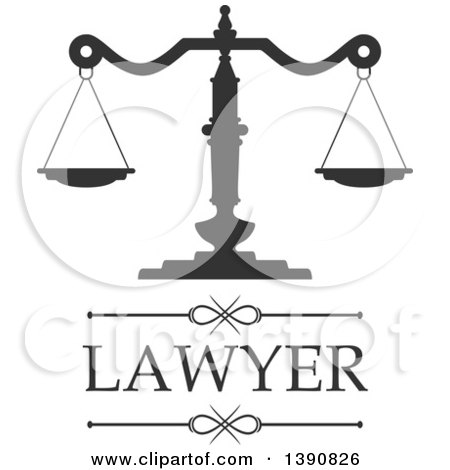 Clipart of Scales of Justice with Lawyer Text - Royalty Free Vector Illustration by Vector Tradition SM
