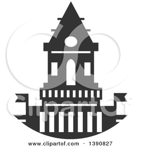 Clipart of a Dark Gray Court House - Royalty Free Vector Illustration by Vector Tradition SM