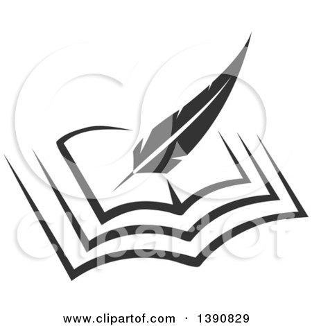 Clipart of a Feather Quill Writing in a Book - Royalty Free Vector Illustration by Vector Tradition SM