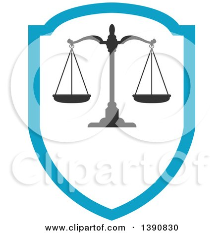 Clipart of Scales of Justice over a Shield - Royalty Free Vector Illustration by Vector Tradition SM