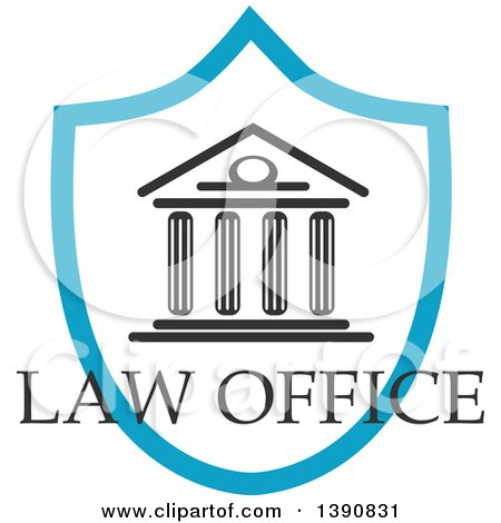 Clipart of a Court House in a Shield with Law Office Text - Royalty Free Vector Illustration by Vector Tradition SM