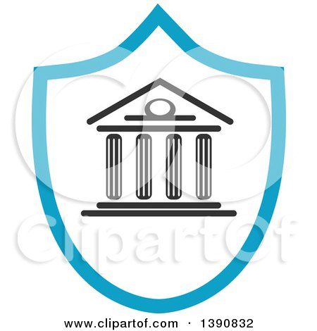Clipart of a Court House in a Shield - Royalty Free Vector Illustration by Vector Tradition SM