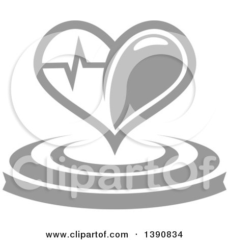 Clipart of a Gray Heart with a Graph over a Banner and Circles - Royalty Free Vector Illustration by Vector Tradition SM