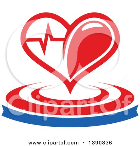 Clipart of a Heart with a Graph over a Banner and Circles - Royalty Free Vector Illustration by Vector Tradition SM