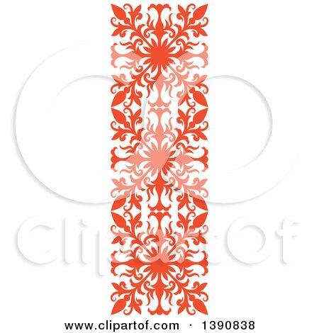 Clipart of an Orange Vintage Ornate Flourish Design Element Border - Royalty Free Vector Illustration by Vector Tradition SM
